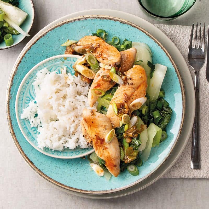 Photo de Filets de poulet à l'orange, Pak Choi et riz prise par WW