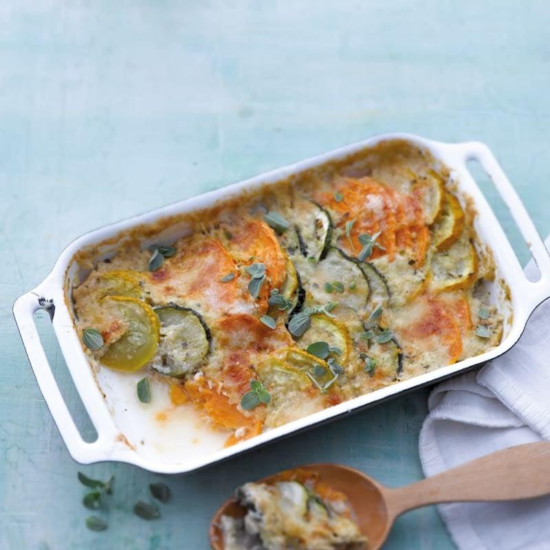 Foto Süsskartoffelauflauf mit Zucchini und Parmesan von WW
