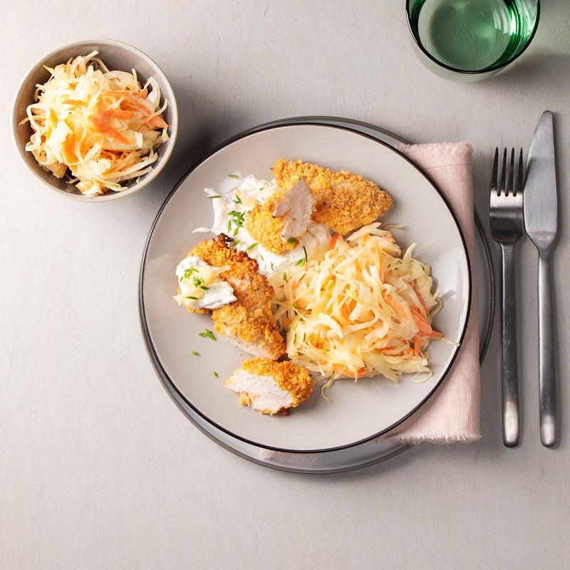 Foto Chicken-Nuggets mit Krautsalat und Apfelquark von WW
