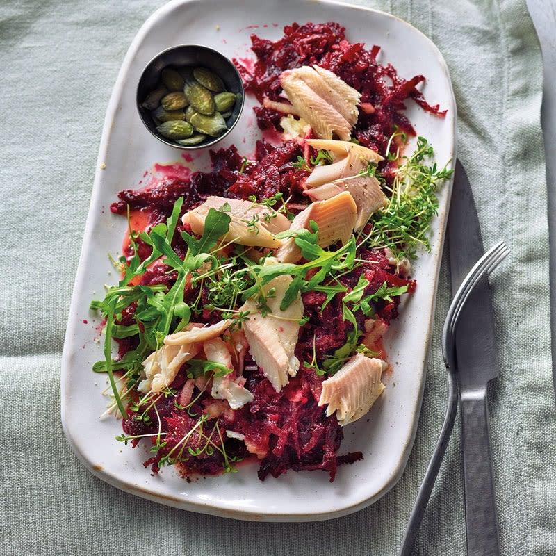 Foto Randen-Salat mit Räucherforelle von WW