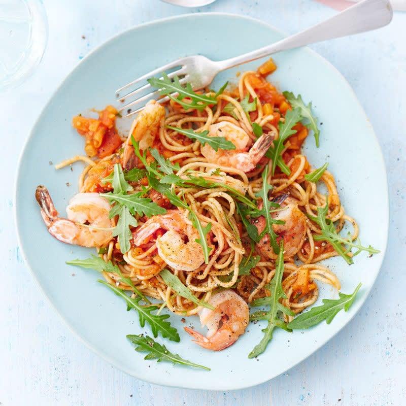 Photo de Spaghetti aux crevettes et à la tomate prise par WW