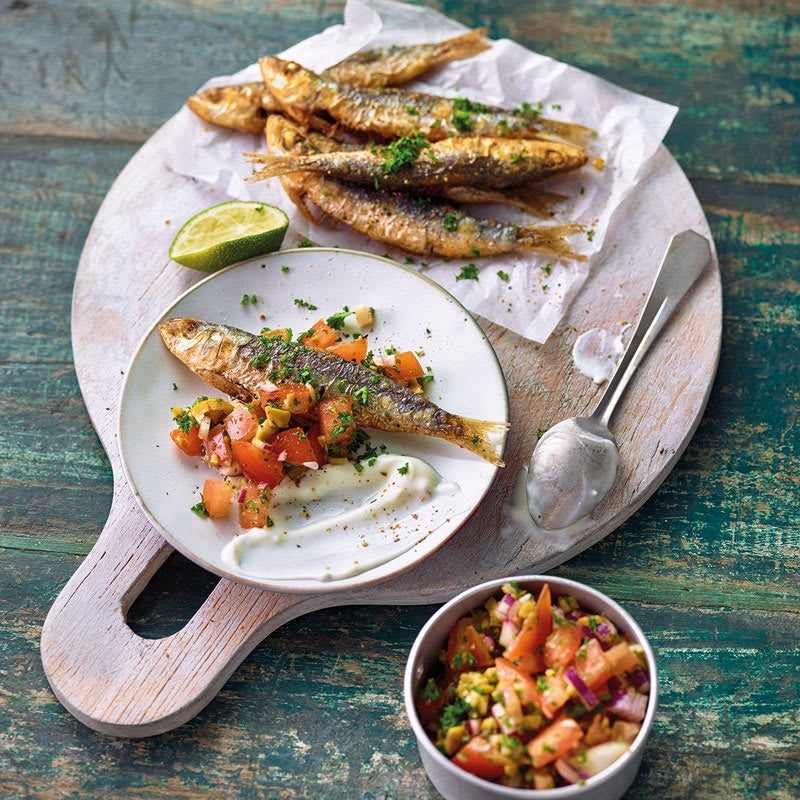 Photo de Sardines grillées, salsa de tomates et aïoli prise par WW