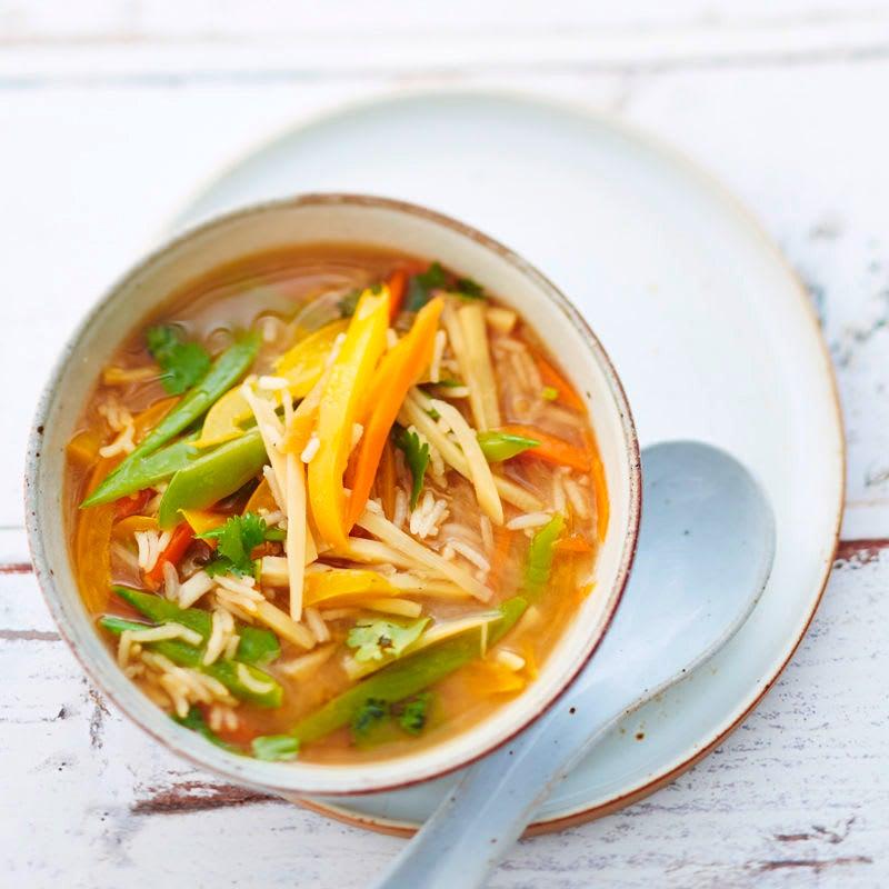 Photo de Soupe asiatique aux pois mange-tout et riz prise par WW