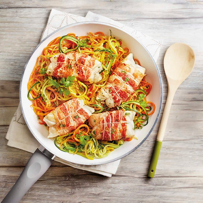 Foto Kabeljau im Speckmantel mit Gemüsespaghetti von WW