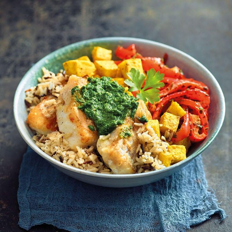 Photo de Filet de cabillaud, riz sauvage et légumes prise par WW