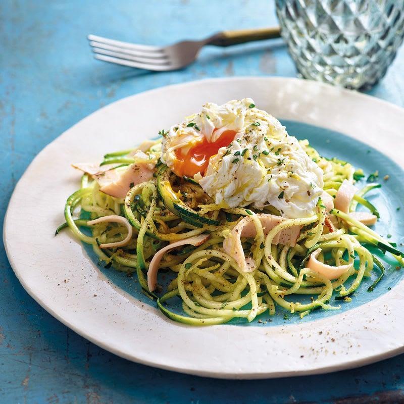 Foto Zucchinispaghetti mit Poulet und Ei von WW