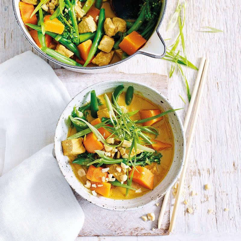 Foto Süsskartoffel-Bohnen-Curry mit Schweinsfilet von WW