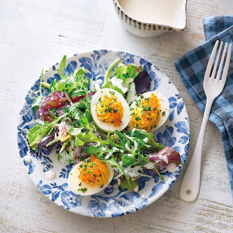 Photo de Œufs farcis aux anchois et salade prise par WW
