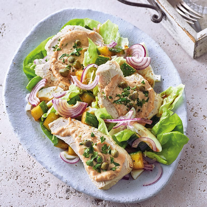 Photo de Poitrine de dinde, crème de thon et salade prise par WW
