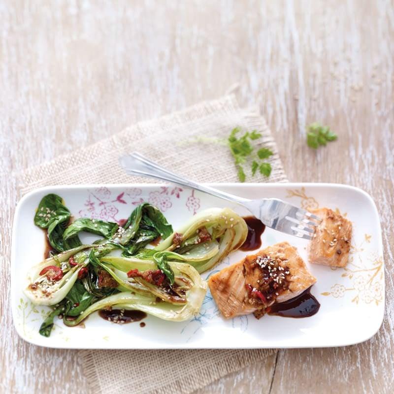 Photo de Filet de saumon et pak choï au four prise par WW