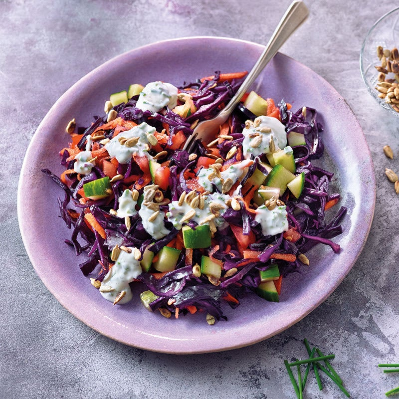 Photo de Salade de chou rouge aux graines de tournesol prise par WW