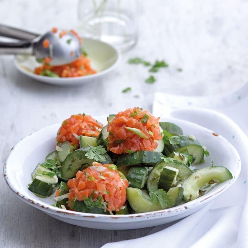 Photo de Tartare de saumon sur légumes à la poêle prise par WW