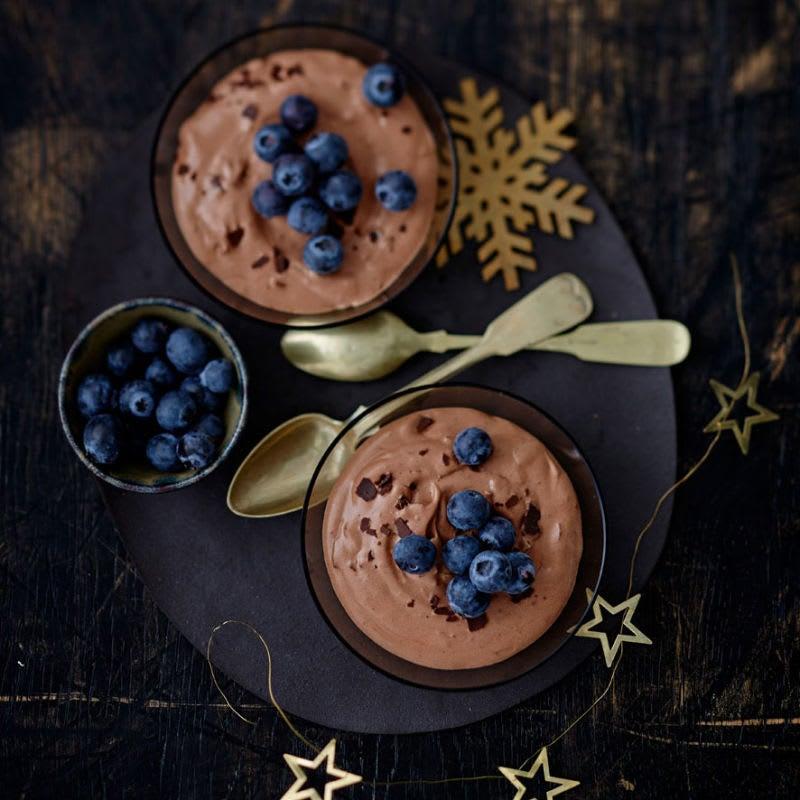 Photo de Mousse au chocolat et aux myrtilles prise par WW