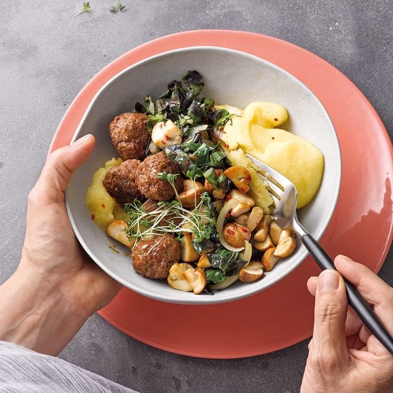 Photo de Polenta aux boulettes de viande hachée prise par WW