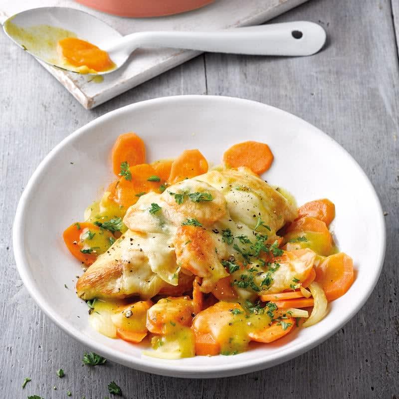 Foto Curry-Poulet-Gratin mit Karotten/Curry-Hähnchen-Gratin mit Karotten von WW