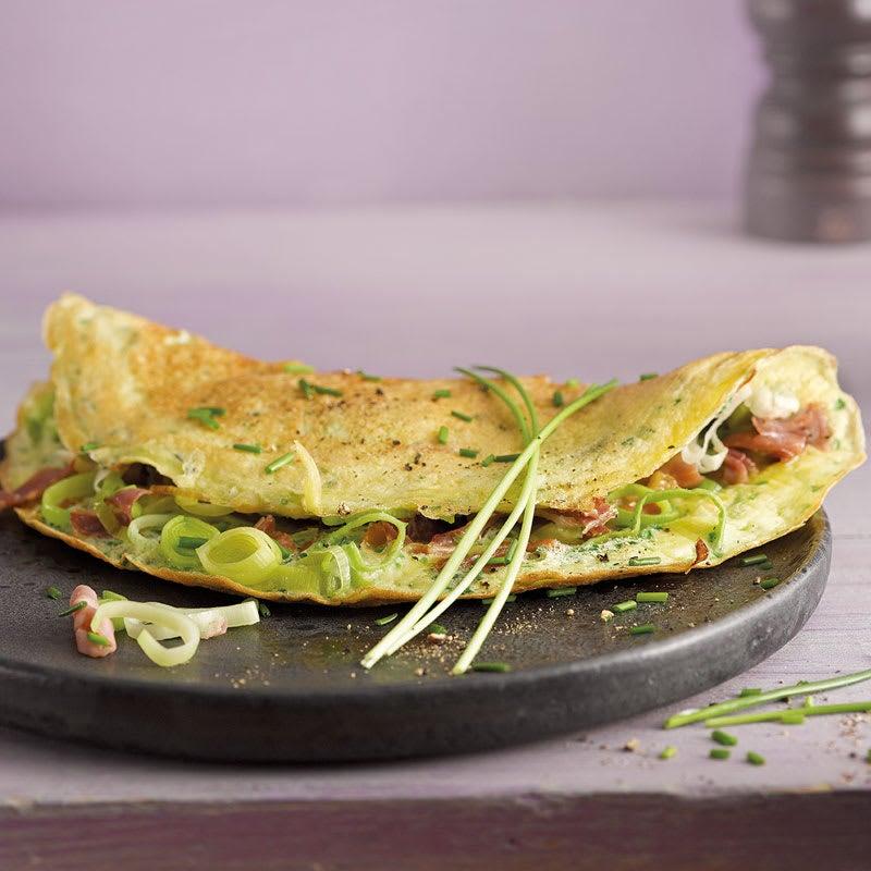 Photo de Omelette au jambon cru et au poireau prise par WW