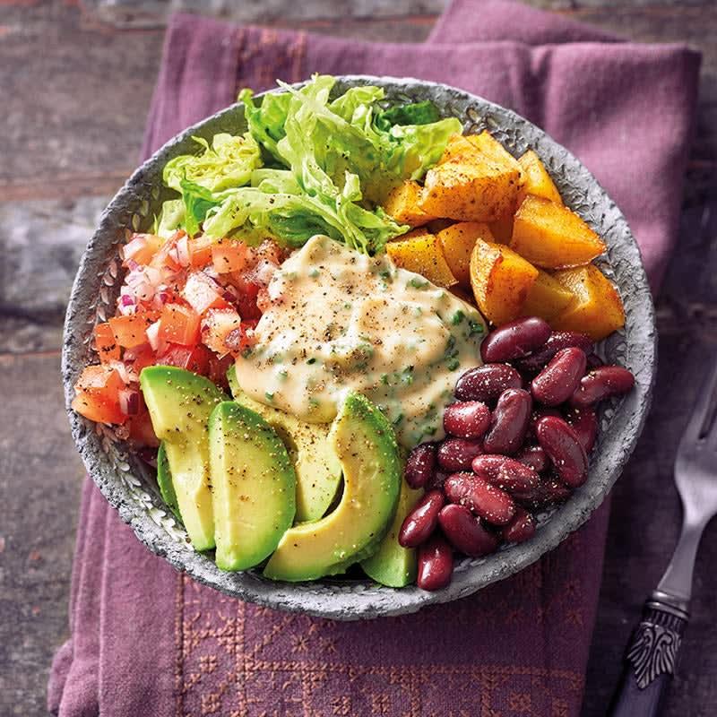 Foto Bohnen-Avocado-Bowl mit Röstkartoffeln von WW