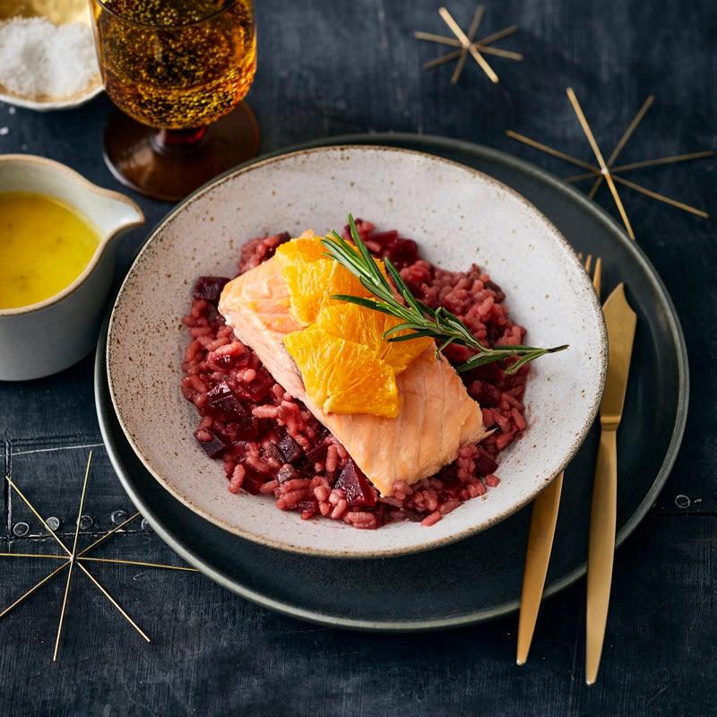 Photo de Saumon à l'orange et risotto de betteraves prise par WW