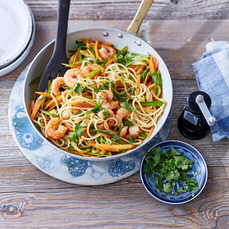 Photo de Spaghetti aux crevettes et aux pois mange-tout prise par WW