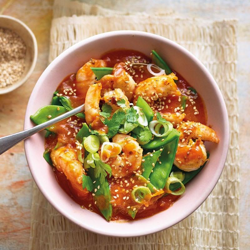 Foto Crevetten-Curry mit Kefen / Garnelen-Curry mit Zuckererbsenschoten von WW
