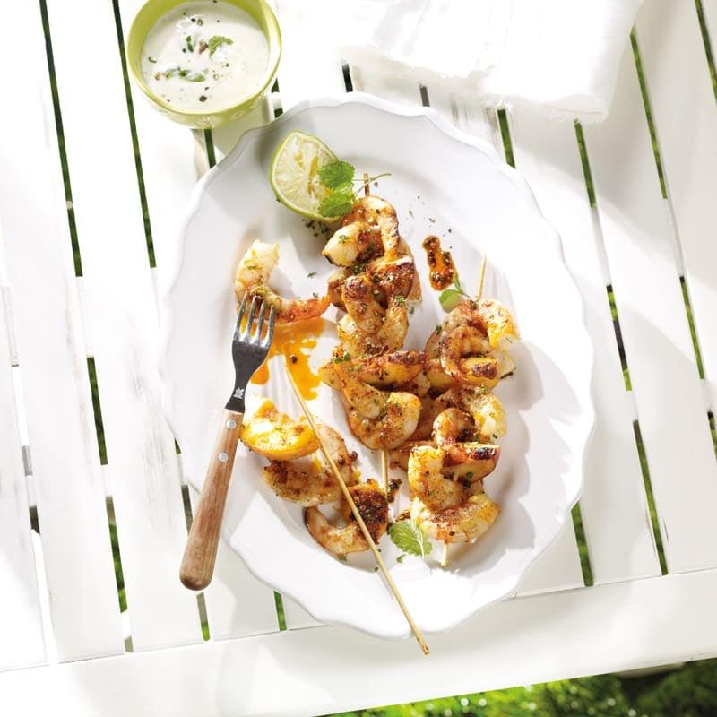 Photo de Brochettes de nectarines et de crevettes, sauce au yogourt prise par WW