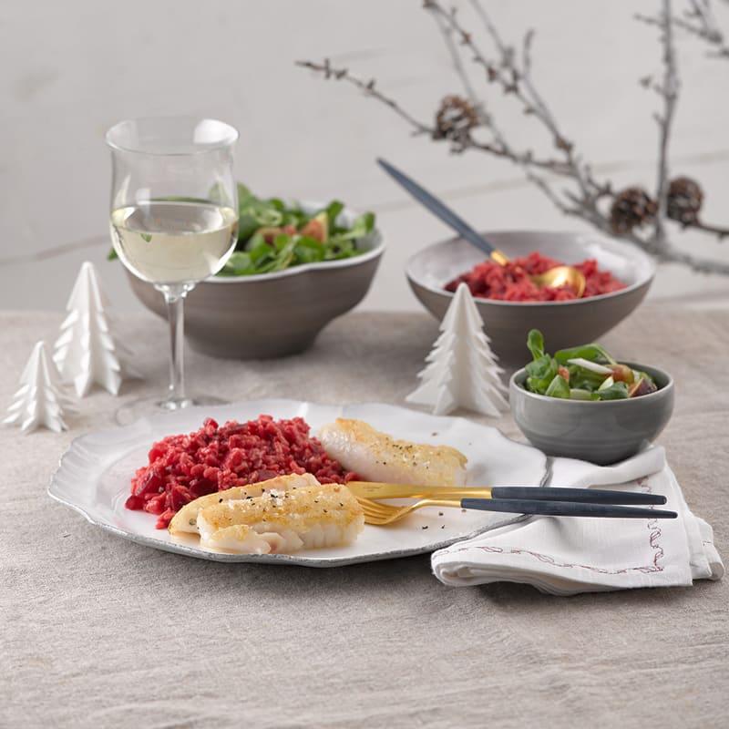 Photo de Filet de turbot, risotto de betteraves rouges et rampon prise par WW