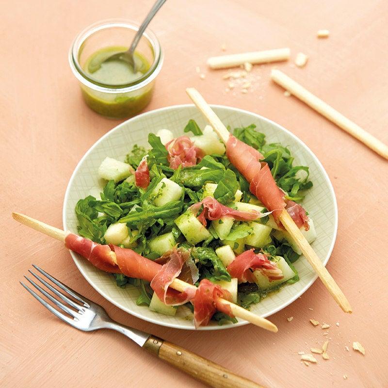 Foto Melonen-Rucola-Salat mit Parmaschinken von WW