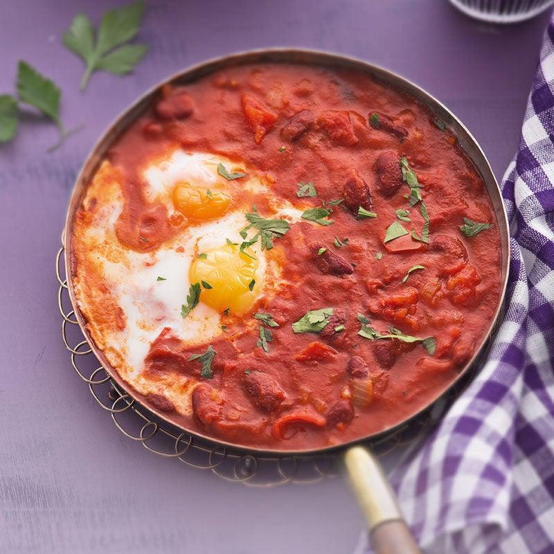 Foto Pochierte Eier in scharfer Tomatensauce von WW