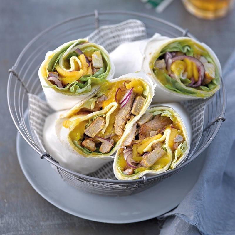 Foto Wrap mit Mango-Curry-Creme und Schweinsfiletstreifen von WW