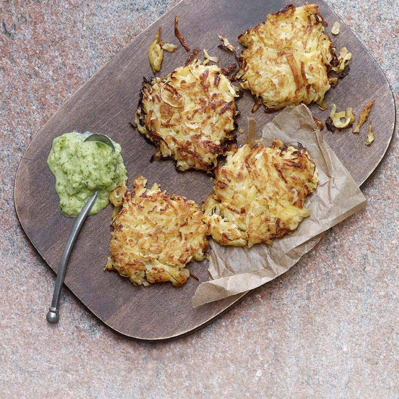 Foto Kartoffel-Kohlrabi-Tätschli mit Zucchinidip von WW