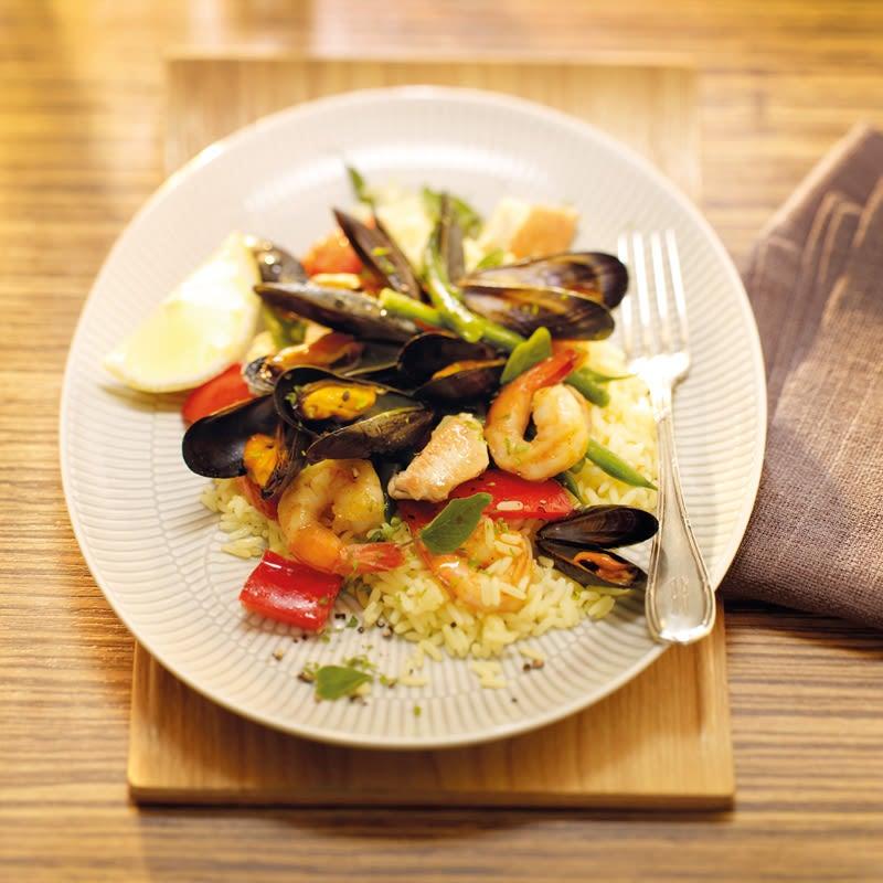 Foto Paella mit Poulet und Meeresfrüchten von WW