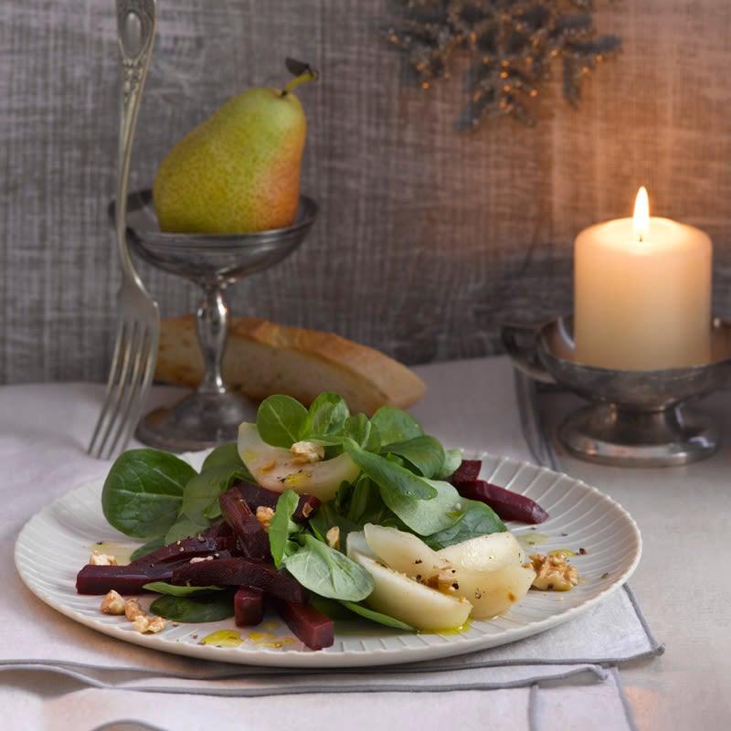 Photo de Salade de rampon aux betteraves rouges et poires au prosecco prise par WW