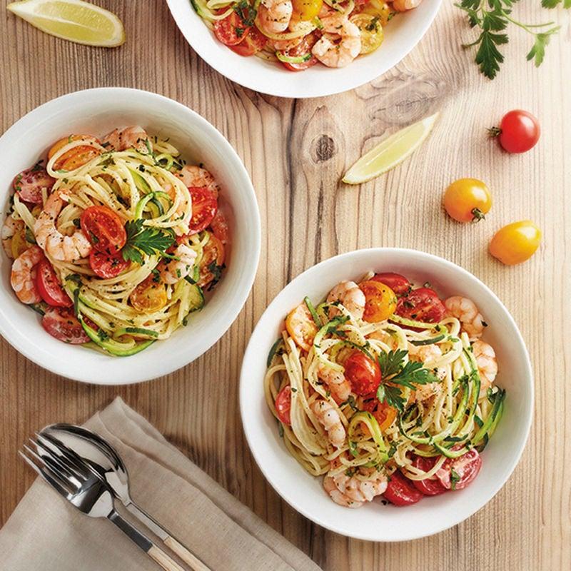 Foto Zucchinispaghetti mit Crevetten und Tomaten von WW