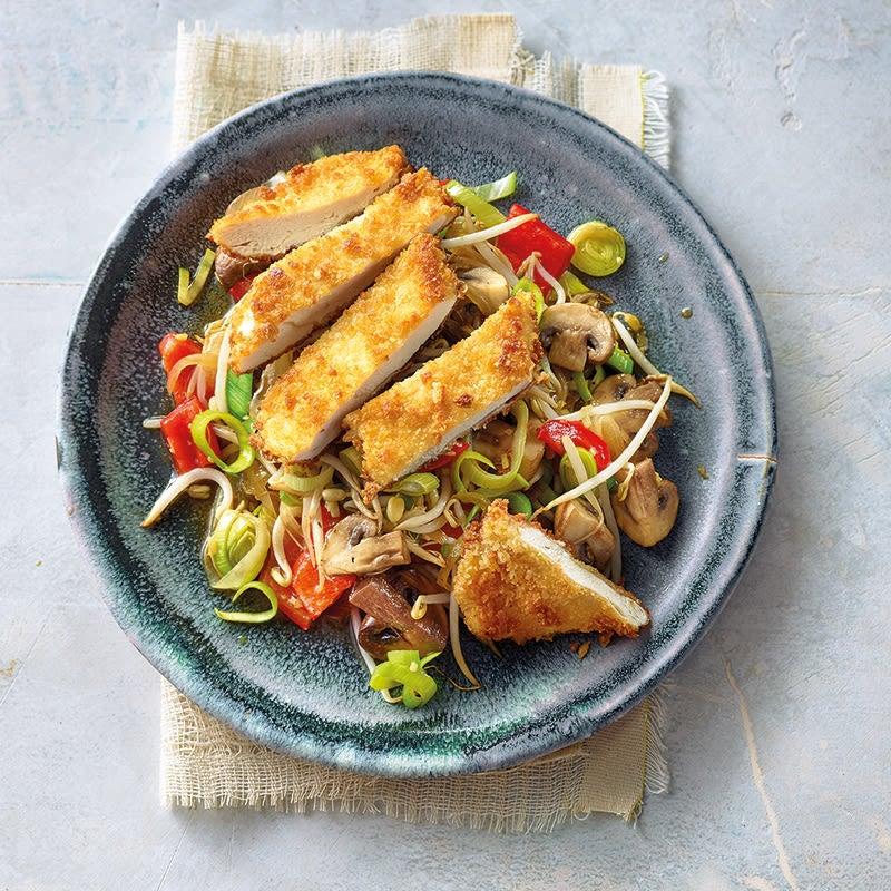 Photo de Poulet pané au panko et wok de légumes prise par WW