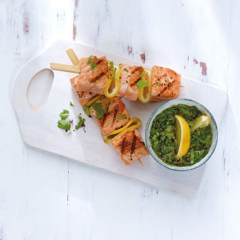 Photo de Brochette de saumon et sa sauce à la coriandre prise par WW