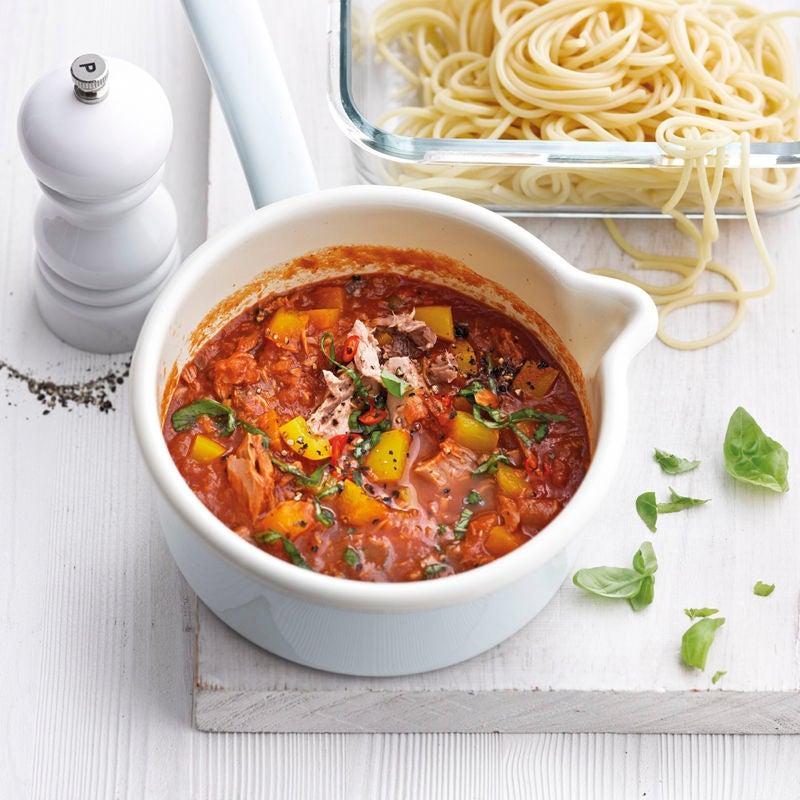 Foto Spaghetti mit scharfer Thunfisch-Peperoni-Sauce von WW