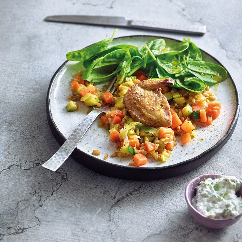 Photo de Salade d'épinards, cailles et risotto de blé vert prise par WW