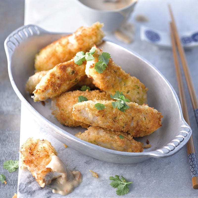 Foto Chicken Dippers mit Erdnusssauce von WW