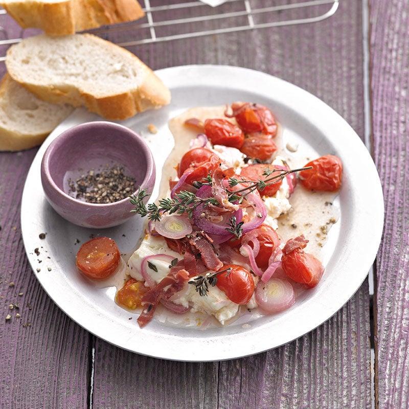 Foto Tomaten-Feta-Päckchen mit Serranoschinken / Tomaten-Schafskäse-Päckchen mit Serranoschinken von WW