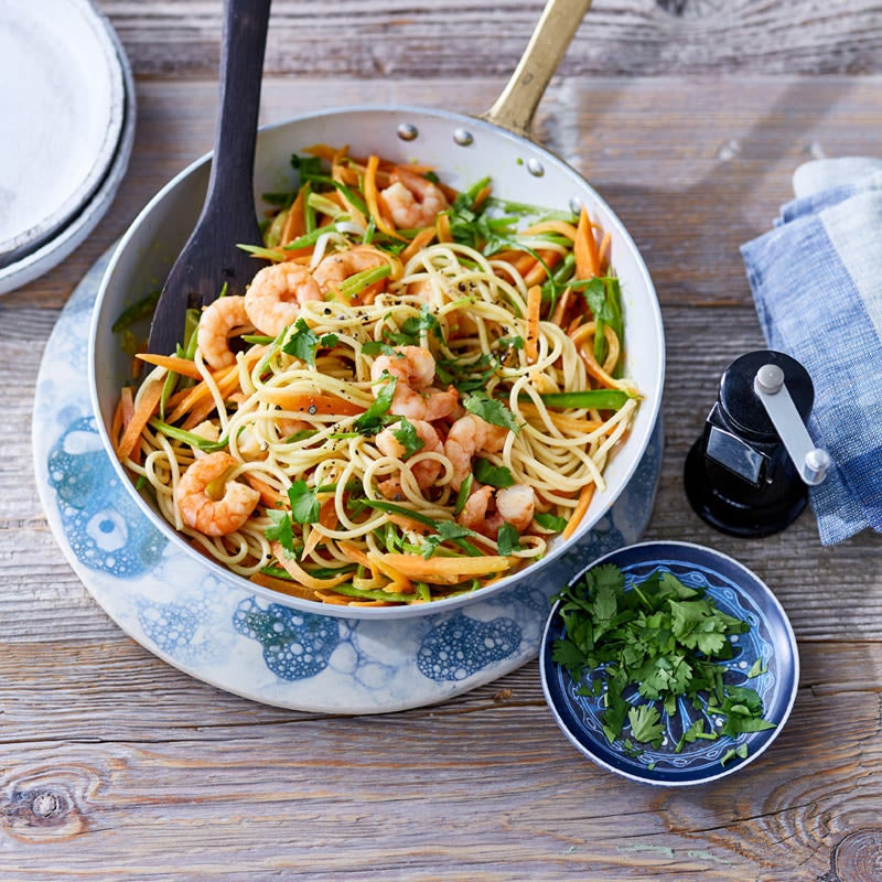 Foto Spaghetti mit Crevetten und Kefen von WW
