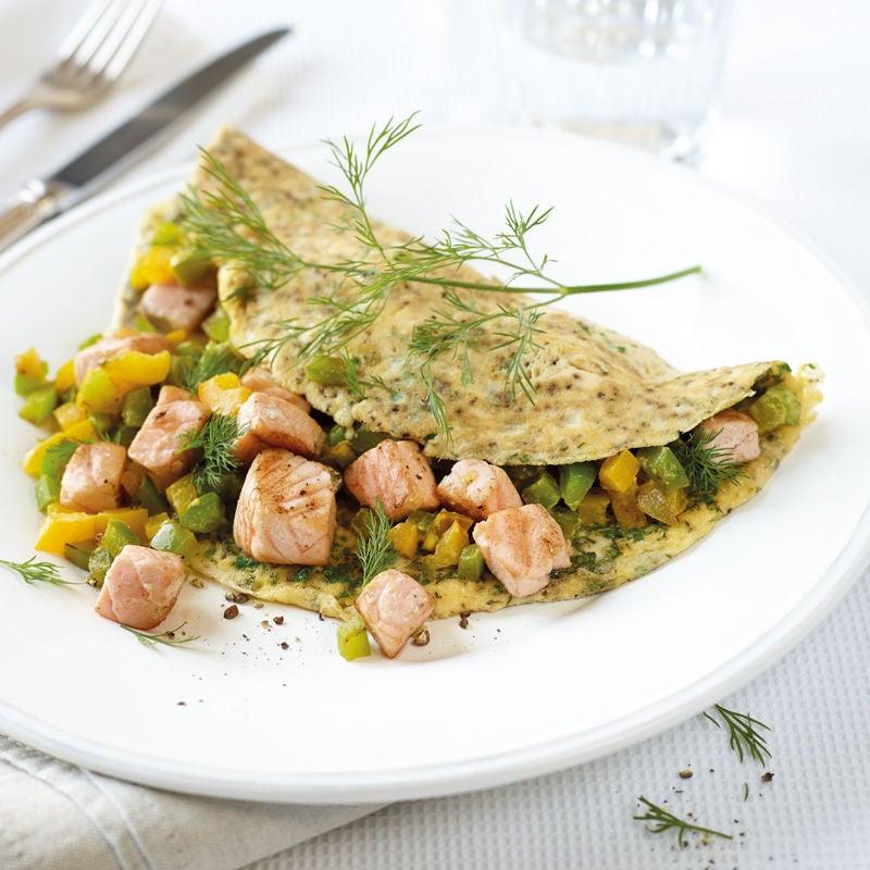 Foto Omelette mit Lachs-Peperoni-Gemüse von WW