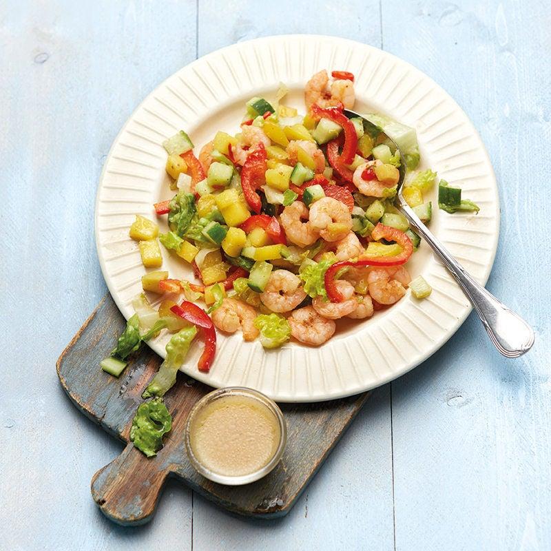Foto Fruchtiger Salat mit scharfen Crevetten von WW