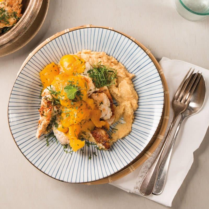 Foto Joghurt-Poulet mit Mango und Hummus von WW