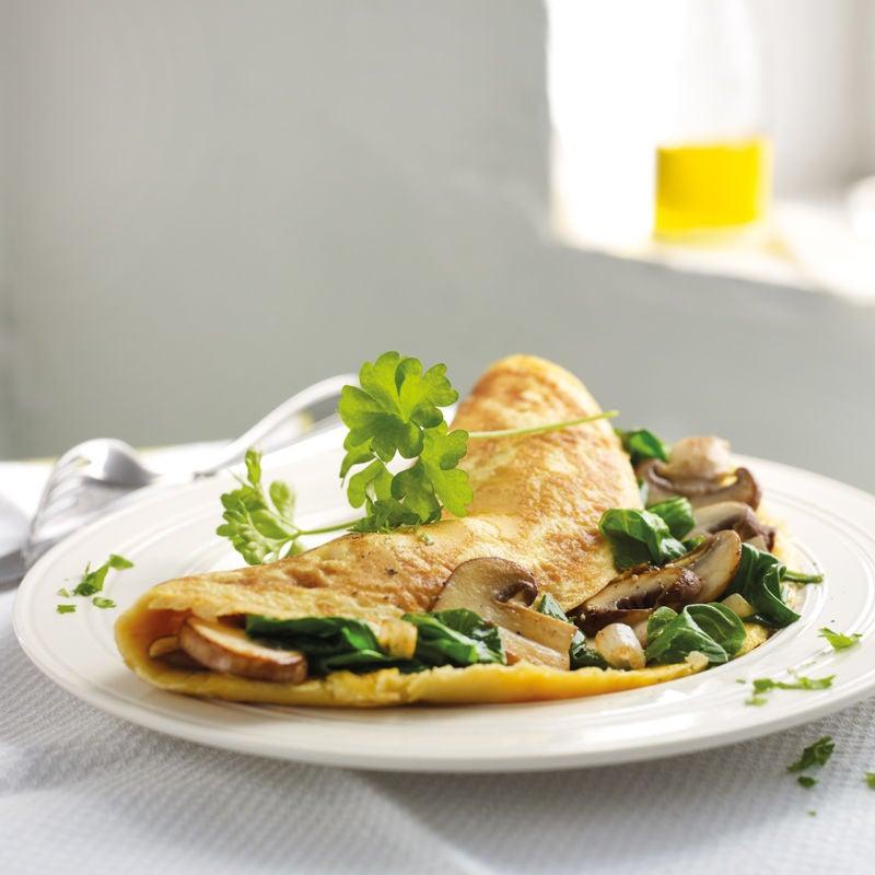 Photo de Omelette aux champignons et aux épinards prise par WW