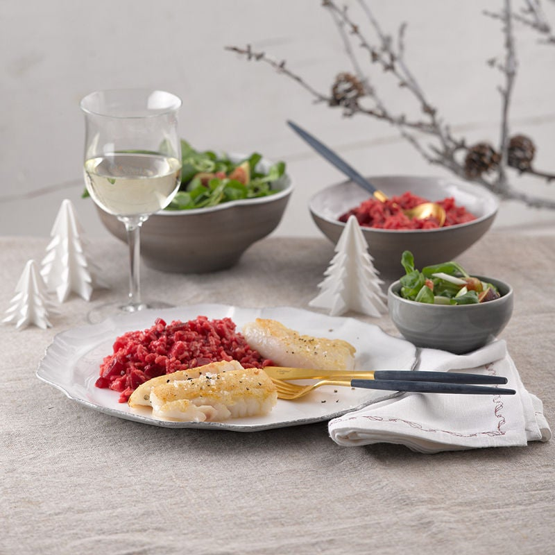 Photo de Filet de turbot, risotto de betteraves rouges et rampon prise par WW
